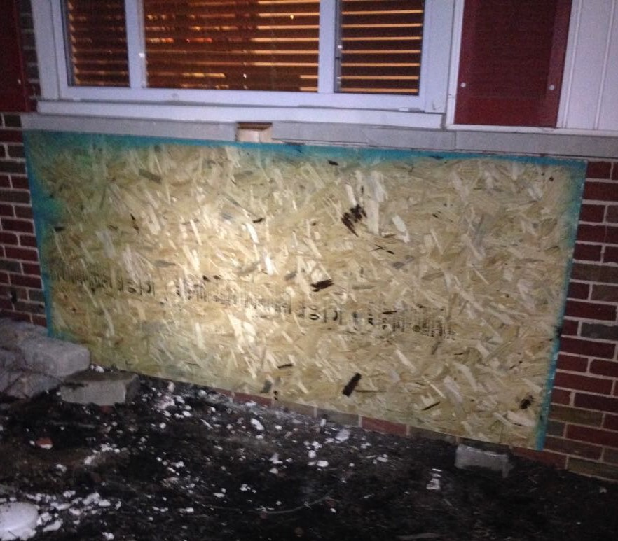 Board-Up following property damage due to vehicle